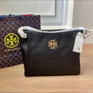 TORY BURCH Britten Small Slouchy Leather Tote